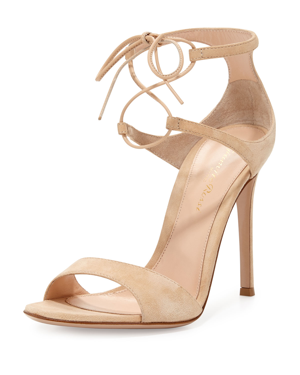 e4c3cad580 Gianvito Rossi Suede Double Ankle-Wrap Sandal, Nude | Neiman Marcus
