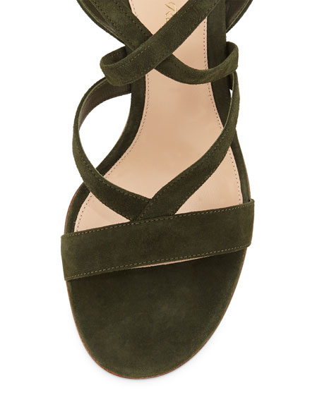Strappy Suede Ankle-Wrap Sandal, Military