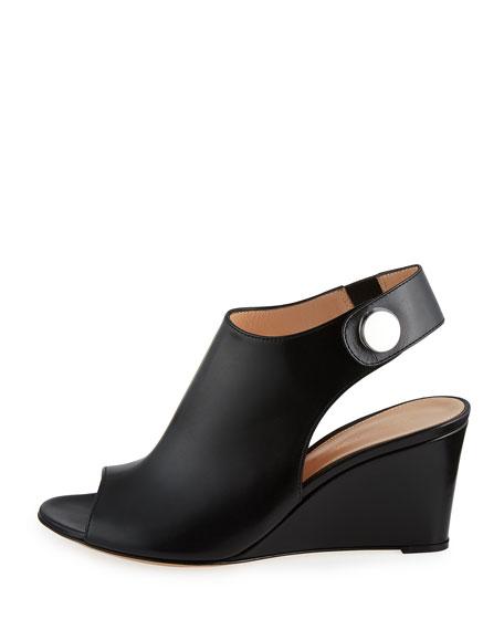 Leather Slingback Wedge Sandal, Black