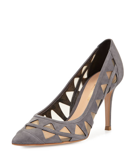 Gianvito Rossi Cutout Suede Pump, Dark Gray