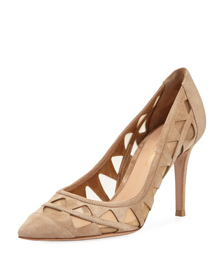 Gianvito Rossi Cutout Suede Pump, Taupe