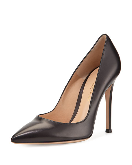 Gianvito Rossi Leather Pointed-Toe Pump, Black