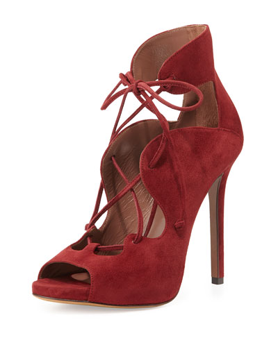 Reed Suede Lace-Up Sandal, Dark Cherry