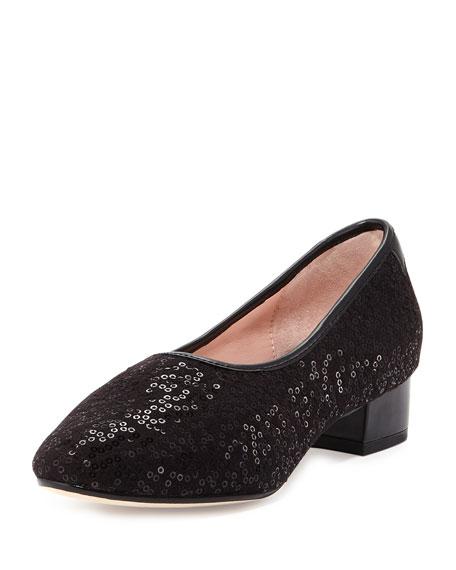 Taryn Rose Fantine Sequin Block-Heel Pump, Black