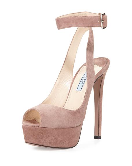 Prada Platform Ankle-Wrap Sandal, Dark Rose