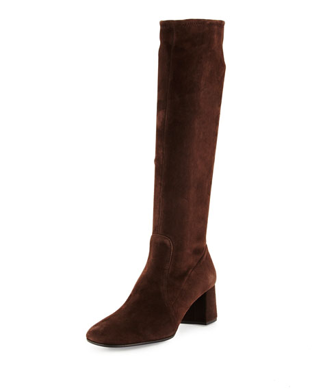 Prada Stretch-Suede Knee Boot, Brown