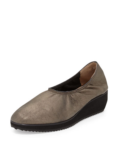Mellow Metallic Suede Slip-On Sneaker, Mica