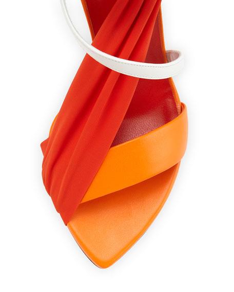 Multi-Strap High-Heel Sandal, Orange/White