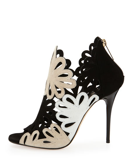 Jeralina Floral Laser-Cut Ankle Boot, Black/Nude/White