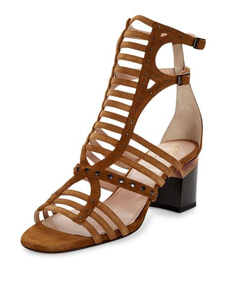 Lanvin Studded Gladiator City Sandal, Camel