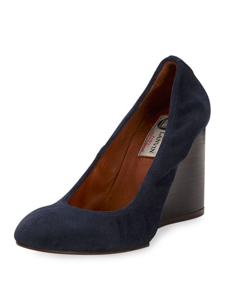 Suede Ballerina Wedge Pump, Blue