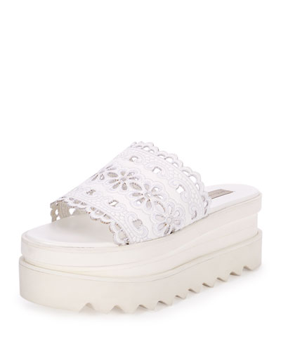 One-Band Eyelet Platform Sandal, White