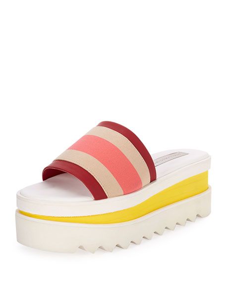 Stella McCartney Striped Platform Slide Sandal, Beige/Cherry