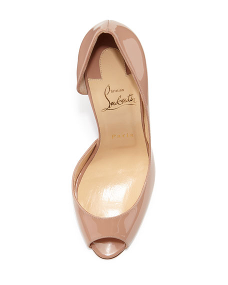Demi You Half-d'Orsay Peep-Toe Red Sole Pump, Nude