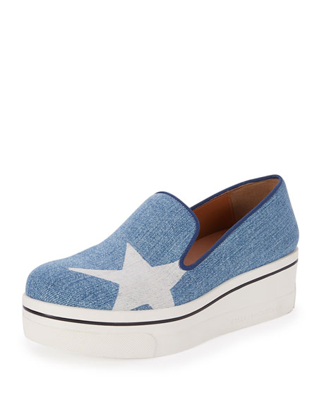 Stella McCartney Binx Denim Star Slip-On Sneakers