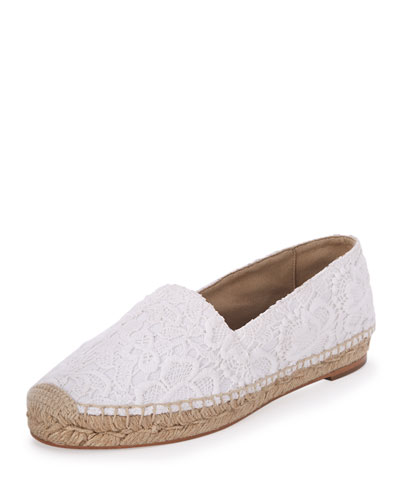 Lace Espadrille Flat, White