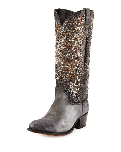 Deborah Studded Leather Tall Boot, Silver