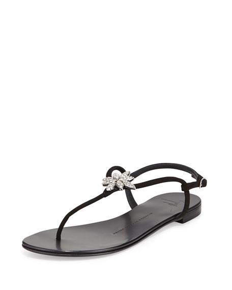 Giuseppe Zanotti Nuvorock Crystal-Flower Sandal, Black