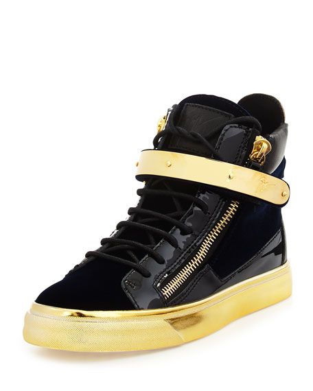 London Patent High-Top Sneaker, Navy