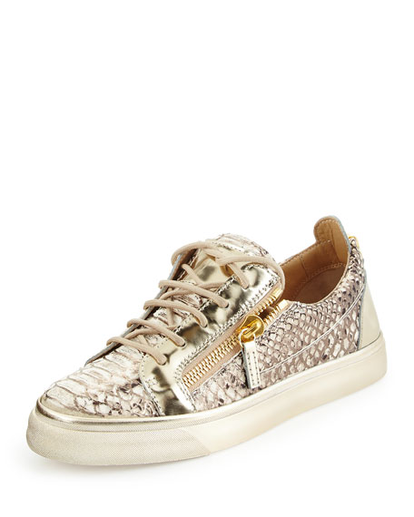 Giuseppe Zanotti Snake-Embossed Leather Low-Top Sneakers QoZeYk