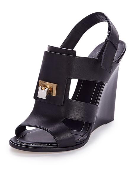Lock-Front Wedge Sandal, Black