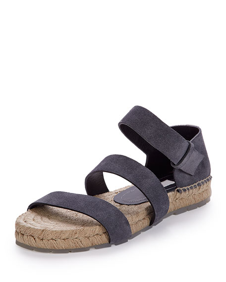 Three-Strap Espadrille Sandal, Gray