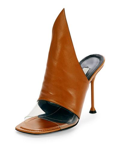Peaked Leather Mule Pump, Camel