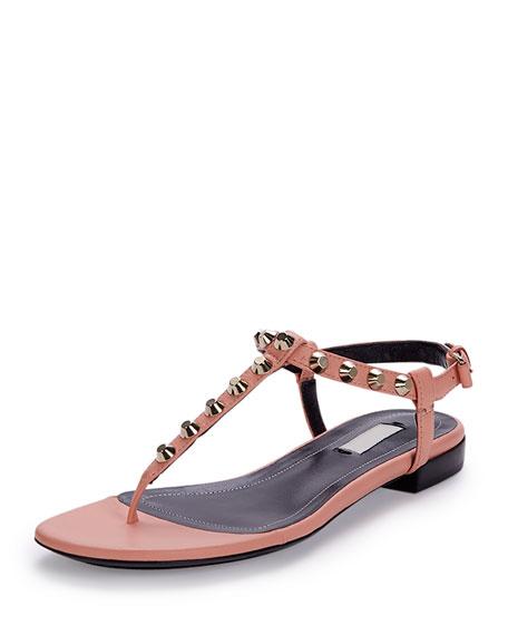 Studded Leather Thong Sandal, Rose