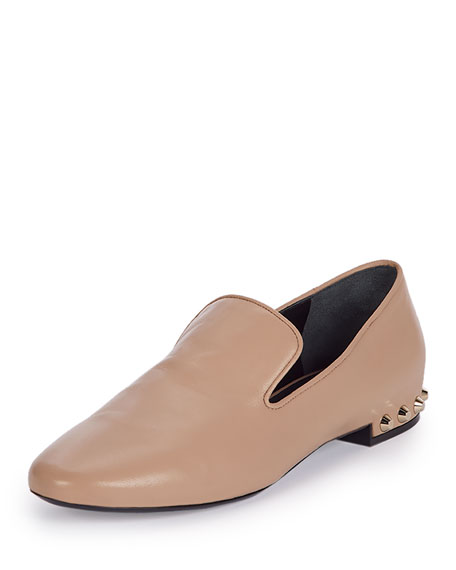 Balenciaga Studded-Heel Smoking Slipper, Beige
