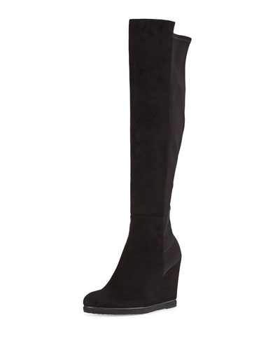Demiswoon Suede/Stretch Over-Knee Wedge Boot, Black