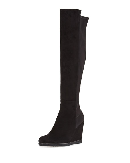 Stuart Weitzman Demiswoon Suede/Stretch Over-Knee Wedge Boot,