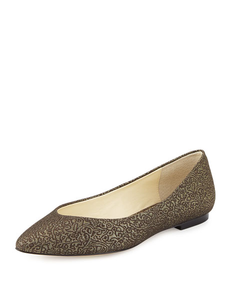 Bettye Muller Ponytail Fabric Ballerina Flat, Antique Gold