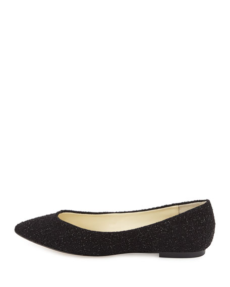 Image 3 of 4: Ponytail Fabric Ballet Flats, Black Sparkle