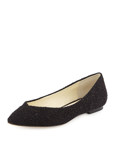 Image 1 of 4: Ponytail Fabric Ballet Flats, Black Sparkle