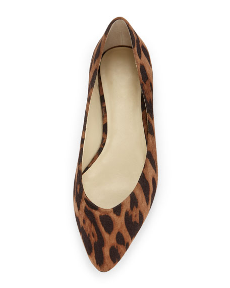 Ponytail Fabric Ballerina Flat, Leopard