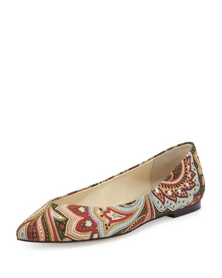 Ponytail Fabric Ballerina Flat, Multi Paisley