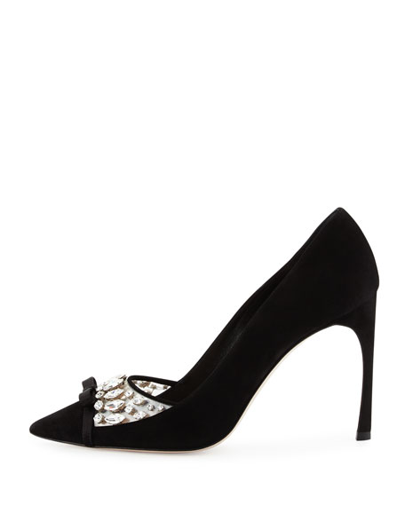 Decollete Jeweled Pointed-Toe Pump, Nero