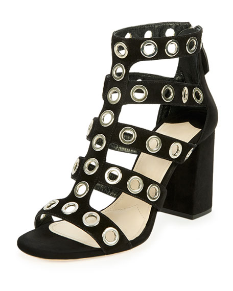 Prada Rivet-Studded Caged Sandal, Black (Nero)
