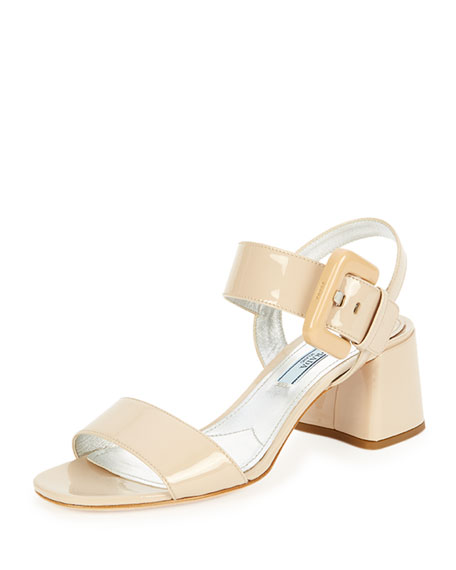 Prada Buckle Patent City Sandal, Travertino