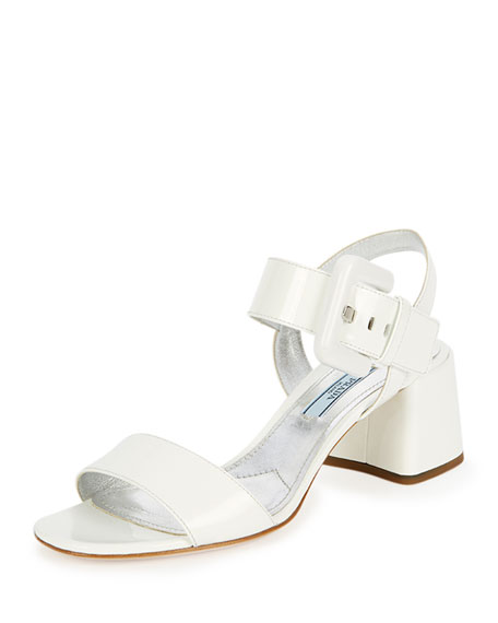Prada Buckle Patent City Sandal, White (Bianco)