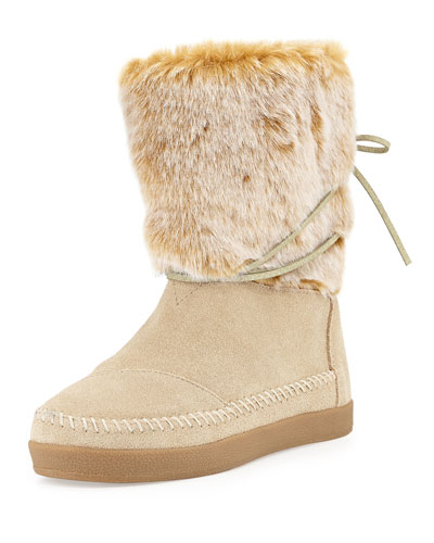 Nepal Suede Boot with Faux-Fur Cuff, Oxford Tan