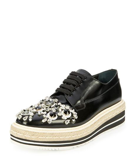 Prada Crystal-Embellished Espadrille Sneaker, Black (Nero)
