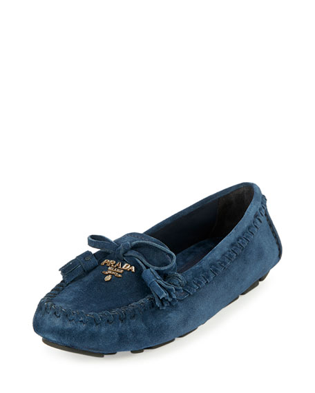 Suede Slip-On Moccasin, Oltremare