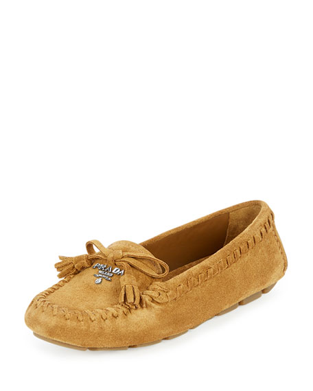 Suede Slip-On Moccasin, Caramel