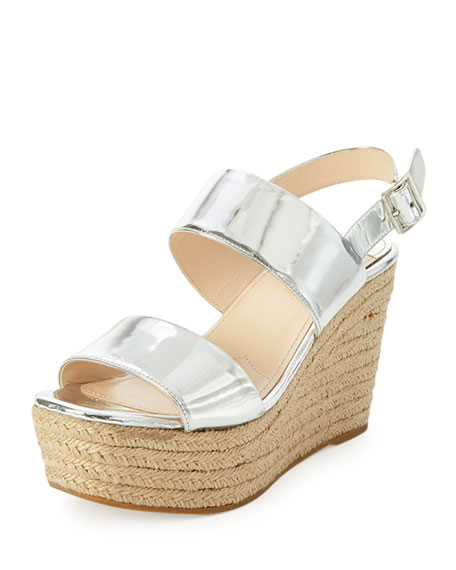 Prada Metallic Platform Espadrille Sandal, Argento