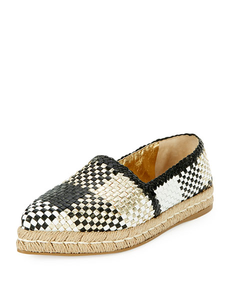 Prada Woven Leather Espadrille Flat, Gold/Black