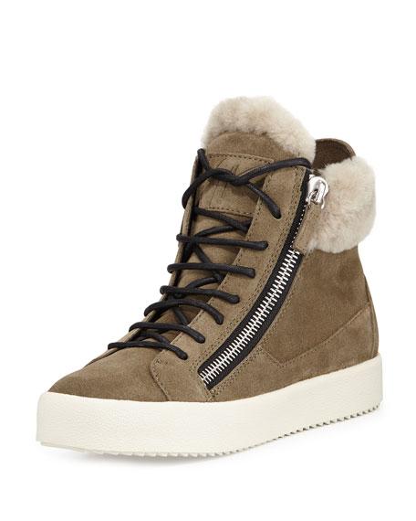 Giuseppe Zanotti Maylondon Shearling Fur-Lined Sneaker, Moss