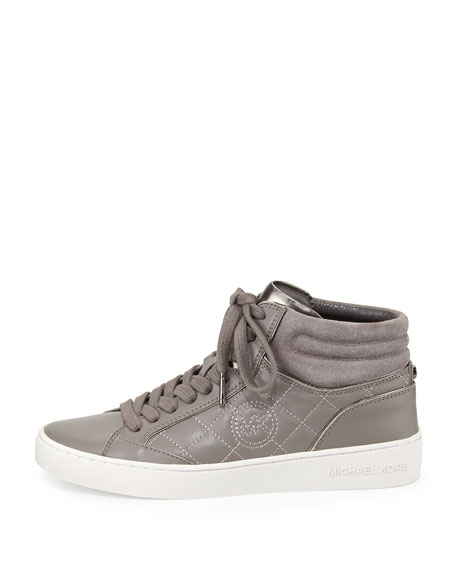 Paige Quilted High-Top Sneaker, Steel Gray