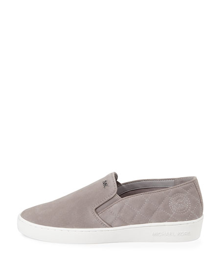 MICHAEL Michael Kors Keaton Quilted Suede Sneaker, Pearl Gray ... : michael kors quilted sneakers - Adamdwight.com