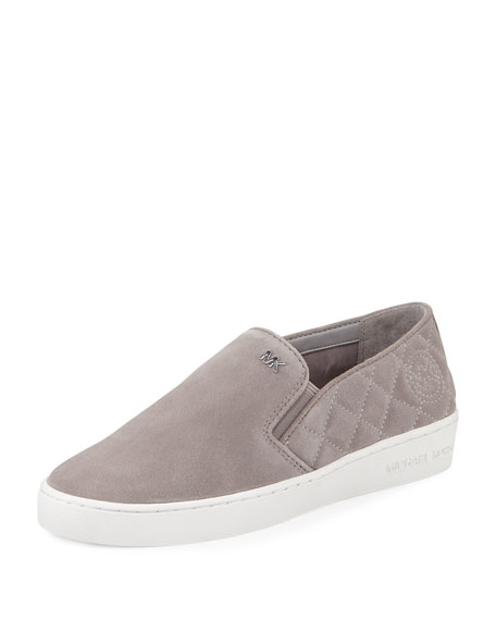 Keaton Quilted Suede Sneaker, Pearl Gray